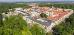 Franzensbad-Bild aus der Vogelperspektive, im Vordergrund, an der Ecke befindet sich das Hotel Belvedere