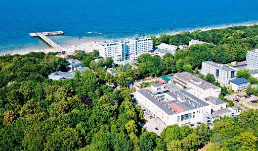 Lage des Muszelka-Komplexes (vorne rehts), mit im Bild: Hotel Baltyk und die Seebrücke, ganz rechts (angeschnitten) das Haus Kielczanka