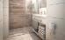 Blick ins Bad, Dusche mit sehr kleiner Schwelle (Wasserauslaufschutz)