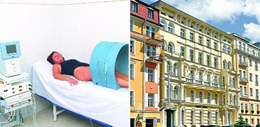 Hotel Maxim (rechts) und Magnetotherapie (links in der Bildmonatage)
