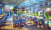 Lichtdurchflutetes Café mit Glasfenstern von oben bis unten